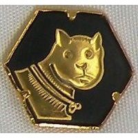 Damascene Gold Cat Hexagon Pin /Tie Tack by Midas of Toledo Spain style 2532