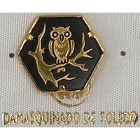 Damascene Gold Owl Hexagon Pin /Tie Tack by Midas of Toledo Spain style 2532