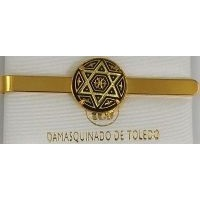 Damascene Gold Mens Tie Bar Star of David by Midas of Toledo Spain style 2604