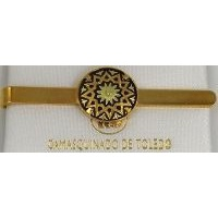 Damascene Gold Mens Tie Bar Star by Midas of Toledo Spain style 2604