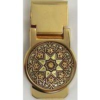 Damascene Gold Star Round Money Clip by Midas of Toledo Spain style 2636