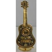 Damascene Gold Miniature Guitar by Midas of Toledo Spain style 2755