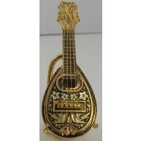 Damascene Gold Miniature Mandolin by Midas of Toledo Spain style 2758