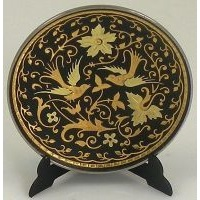 Damascene Gold Bird Round Decorative Plate by Midas of Toledo Spain style 2922-10