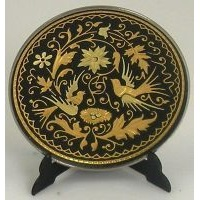 Damascene Gold Bird Round Decorative Plate by Midas of Toledo Spain style 2922-11