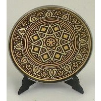 Damascene Gold Geometric Round Decorative Plate by Midas of Toledo Spain style 2922-14