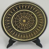 Damascene Gold Geometric Round Decorative Plate by Midas of Toledo Spain style 2922-1