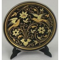 Damascene Gold Bird Round Decorative Plate by Midas of Toledo Spain style 2922-2