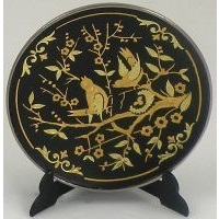 Damascene Gold Bird Round Decorative Plate by Midas of Toledo Spain style 2922-7
