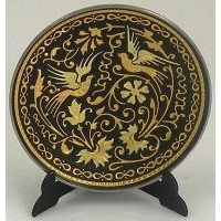 Damascene Gold Bird Round Decorative Plate by Midas of Toledo Spain style 2922-9
