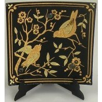 Damascene Gold Bird Square Decorative Plate by Midas of Toledo Spain style 2923-10
