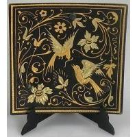 Damascene Gold Bird Square Decorative Plate by Midas of Toledo Spain style 2923-1