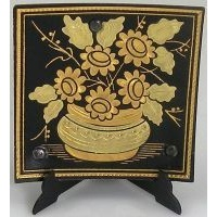 Damascene Gold Flower Square Decorative Plate by Midas of Toledo Spain style 2923-6