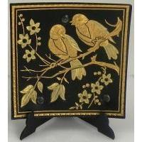 Damascene Gold Bird Square Decorative Plate by Midas of Toledo Spain style 2923-7