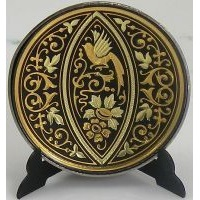 Damascene Gold Bird Round Decorative Plate by Midas of Toledo Spain style 2925-10