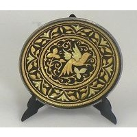 Damascene Gold Bird Round Decorative Plate by Midas of Toledo Spain style 2925-11