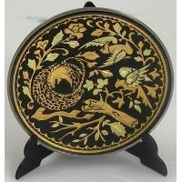 Damascene Gold Bird Round Decorative Plate by Midas of Toledo Spain style 2925-2