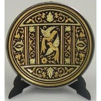 Damascene Gold Bird Round Decorative Plate by Midas of Toledo Spain style 2925-3