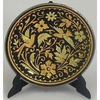 Damascene Gold Bird Round Decorative Plate by Midas of Toledo Spain style 2925-4