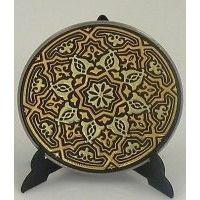 Damascene Gold Geometric Round Decorative Plate by Midas of Toledo Spain style 2925-6