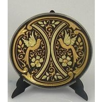 Damascene Gold Bird Round Decorative Plate by Midas of Toledo Spain style 2925-9