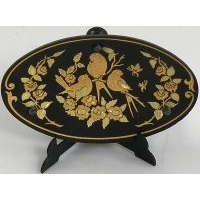Damascene Gold Bird Oval Decorative Plate by Midas of Toledo Spain style 2953-5