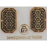Damascene Gold Star of David Rectangle Stud Earrings by Midas of Toledo Spain style 3088