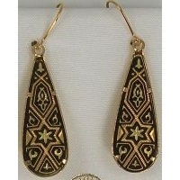 Damascene Gold Star of David Teardrop Drop Earrings by Midas of Toledo Spain style 3104