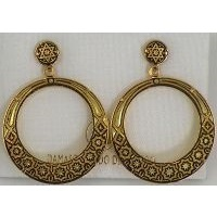 Damascene Gold Star of David Hoop Stud Drop Earrings by Midas of Toledo Spain style 3106