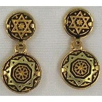 Damascene Gold Star of David Round Stud Drop Earrings by Midas of Toledo Spain style 3113