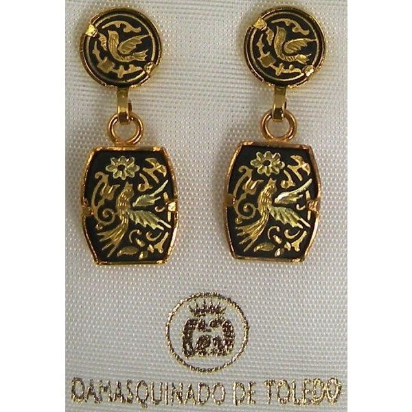 Damascene Gold Bird Rectangle Drop Earrings By Midas Of Toledo Spain Style 3114