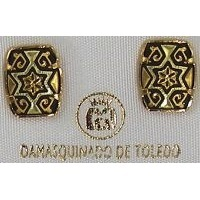 Damascene Gold 11mm x 9mm Rectangle Star of David Earrings by Midas of Toledo Spain style 3115