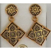 Damascene Gold 21mm Square Star of David Design Drop Earrings by Midas of Toledo Spain style 3144