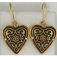Damascene Gold 14mm x 14mm Heart Star of David Design Drop Earrings by Midas of Toledo Spain style 3193