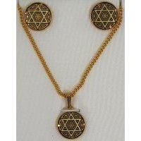Damascene Gold Round Star of David Earrings and Necklace Set  by Midas of Toledo Spain style 3433