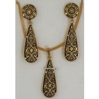 Damascene Gold Drop Star of David Earrings and Necklace Set  by Midas of Toledo Spain style 3435