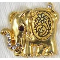 Gold Damascene Kumki Elephant Animal Pin /Tie Tack by Midas of Toledo Spain style 5309