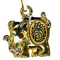Gold Damascene Kumki Elephant Pendant on Chain Necklace by Midas of Toledo Spain style 5405