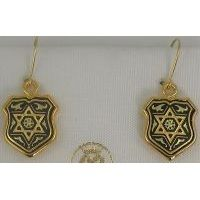 Damascene Gold Star of David Shield Drop Earrings by Midas of Toledo Spain style 8101