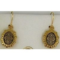 Damascene Gold Star of David Oval Drop Earrings by Midas of Toledo Spain style 8105