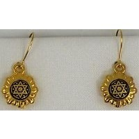 Damascene Gold Star of David Round Drop Earrings by Midas of Toledo Spain style 8109