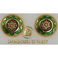 Damascene Gold and Green Enamel 14mm Round Star of David Stud Earrings by Midas of Toledo Spain style 8119-1