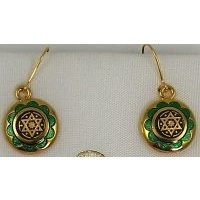 Damascene Gold and Green Enamel Star of David Round Drop Earrings by Midas of Toledo Spain style 8120-1