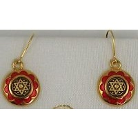 Damascene Gold and Red Enamel Star of David Round Drop Earrings by Midas of Toledo Spain style 8120