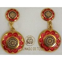 Damascene Gold and Red Enamel Star of David Round Stud Drop Earrings by Midas of Toledo Spain style 8121