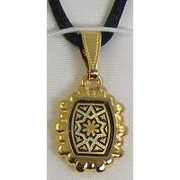 Damascene Gold Star of David Rectangle Pendant on Cord Necklace by Midas of Toledo Spain style 8207