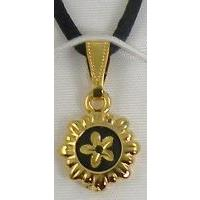 Damascene Gold Flower Round Pendant on Cord Necklace by Midas of Toledo Spain style 8209
