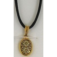 Damascene Gold Star of David Oval Pendant on Cord Necklace by Midas of Toledo Spain style 8212