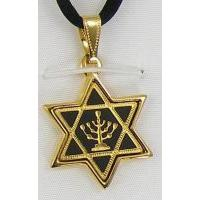 Damascene Gold Menorah Star of David Pendant on Cord Necklace by Midas of Toledo Spain style 8229