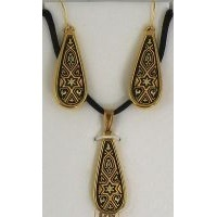 Damascene Gold Star of David Teardrop Pendant Necklace and Drop Earrings Set by Midas of Toledo Spain style 8400